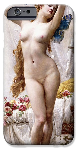 Figures Paintings iPhone Cases - The Awakening of Psyche iPhone Case by Guillaume Seignac