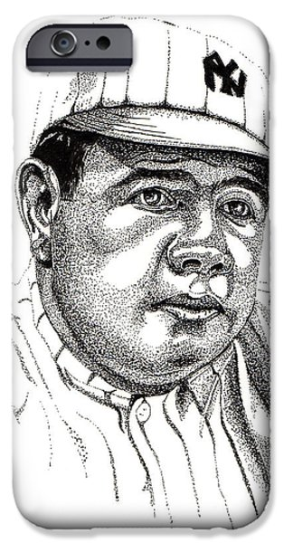 Mlb Drawings iPhone Cases - The Babe iPhone Case by Cory Still