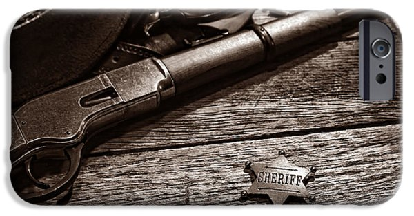 Sheriff iPhone Cases - The Badge iPhone Case by American West Legend By Olivier Le Queinec