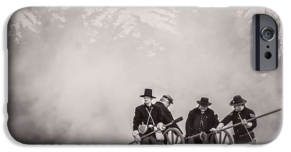 Lincoln iPhone Cases - The Battle Begins - Monochrome iPhone Case by F Leblanc
