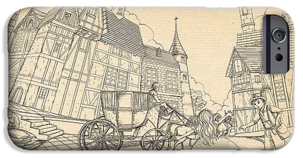Switzerland Drawings iPhone Cases - The Bavarian Village iPhone Case by Reynold Jay
