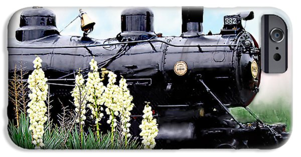 Casey Digital iPhone Cases - The Black Steam Engine iPhone Case by Bonnie Willis