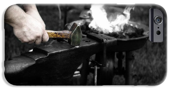 Work Tool Digital iPhone Cases - The Blacksmith  iPhone Case by Steven  Digman