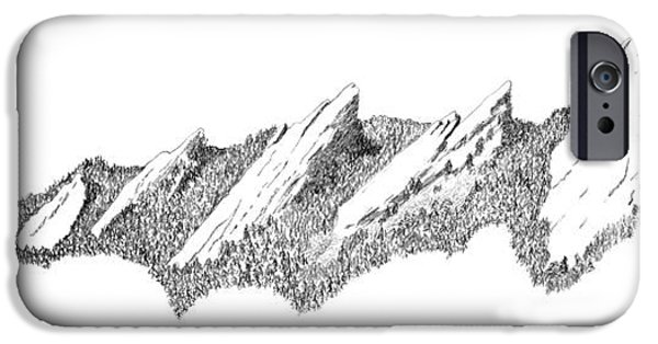 Colorado Drawings iPhone Cases - The Boulder Flatirons iPhone Case by Jerry McElroy