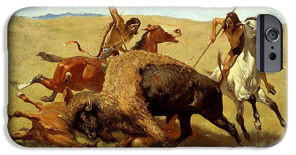 Frederic Remington iPhone Cases - The Buffalo Hunt iPhone Case by Frederic Remington
