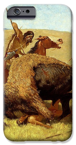 The Buffalo Hunt iPhone Case by Frederic Remington