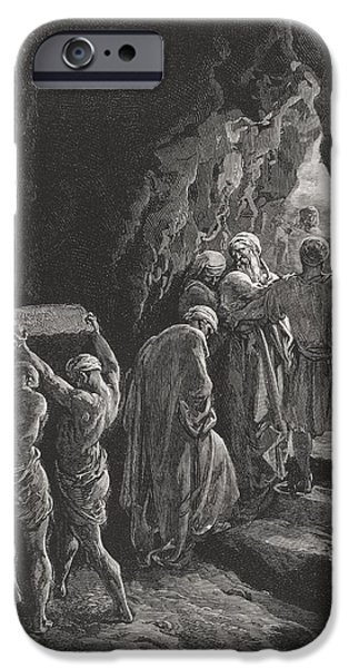 Tomb iPhone Cases - The Burial of Sarah iPhone Case by Gustave Dore
