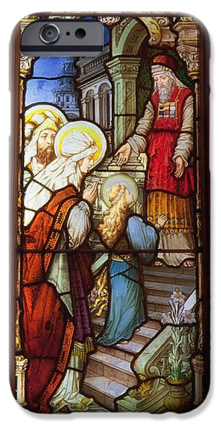 Stained Glass Glass Art iPhone Cases - The Cathedral of the Immaculate Conception - Mobile Alabama iPhone Case by Mountain Dreams