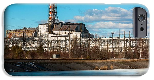 Explosion Pyrography iPhone Cases - The Chernobyl Nuclear Pwer Plant 2012 March 14 iPhone Case by Oliver Sved