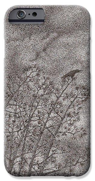 Eerie Drawings iPhone Cases - The Crow iPhone Case by Wayne Hardee