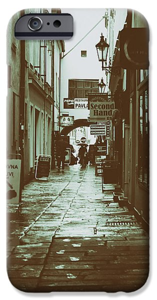 Budejovice iPhone Cases - The Dark Rainy Alleyway iPhone Case by Mountain Dreams