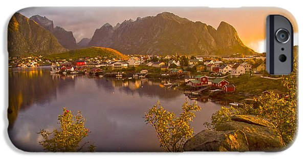 Norway iPhone Cases - The day begins in Reine iPhone Case by Heiko Koehrer-Wagner
