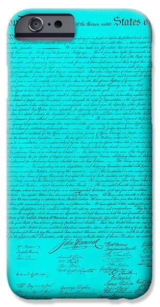 THE DECLARATION OF INDEPENDENCE in TURQUOISE iPhone Case by ROB HANS
