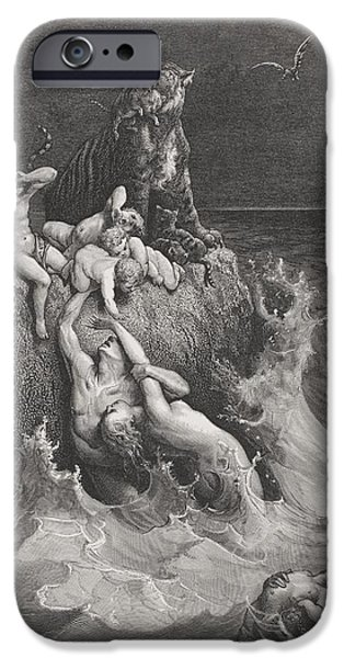 Storm Drawings iPhone Cases - The Deluge iPhone Case by Gustave Dore