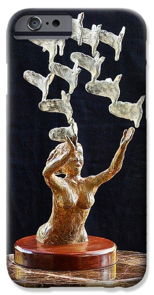 Birds Reliefs iPhone Cases - The Dove Maiden iPhone Case by Dan Redmon