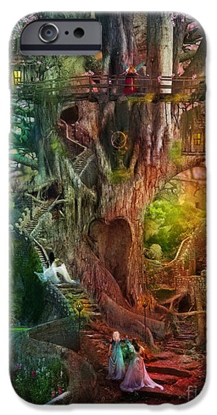 Mysterious Digital Art iPhone Cases - The Dreaming Tree iPhone Case by Aimee Stewart