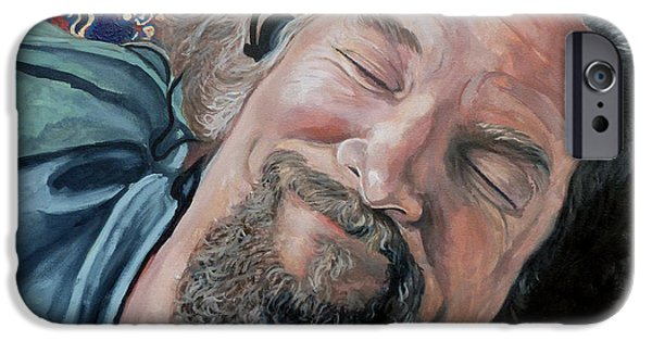 Celebrities Portrait iPhone Cases - The Dude iPhone Case by Tom Roderick