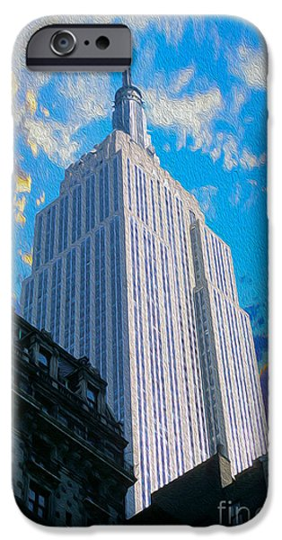 Buildings Mixed Media iPhone Cases - The Empire State Building iPhone Case by Jon Neidert