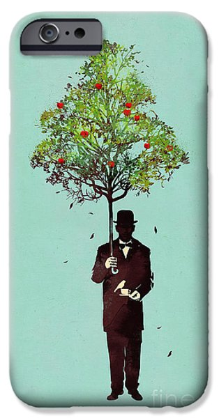 Umbrella iPhone Cases - The ethical gentleman iPhone Case by Budi Satria Kwan