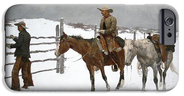 Frederic Remington iPhone Cases - The Fall of the Cowboy iPhone Case by Frederic Remington