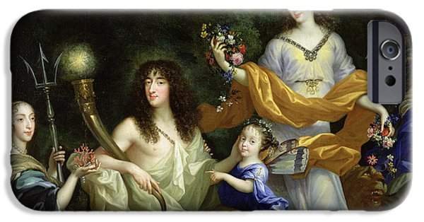 Lumiere iPhone Cases - The Family Of Louis Xiv 1638-1715 1670 Oil On Canvas Detail Of 60094 iPhone Case by Jean Nocret