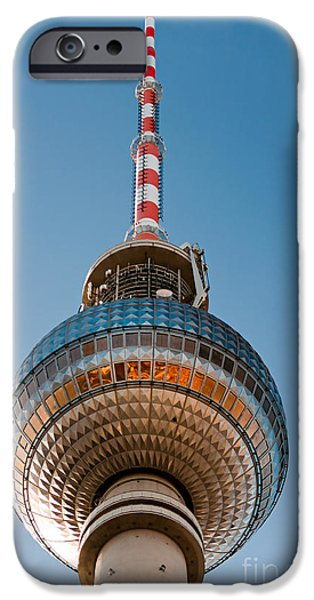 U-bahn iPhone Cases - The Fernsehturm - Berlin iPhone Case by Luciano Mortula