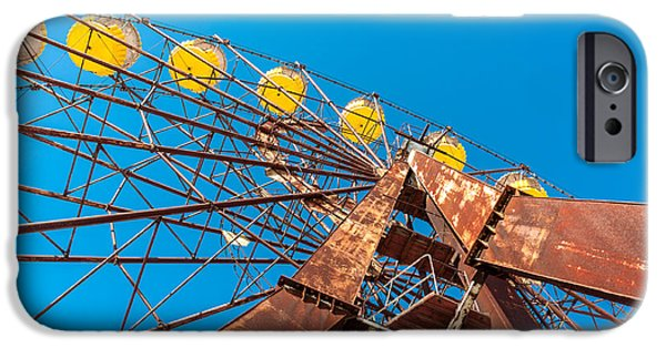 Safety Pyrography iPhone Cases - The Ferris Wheel in Pripyat Chernobyl 2012 March iPhone Case by Oliver Sved