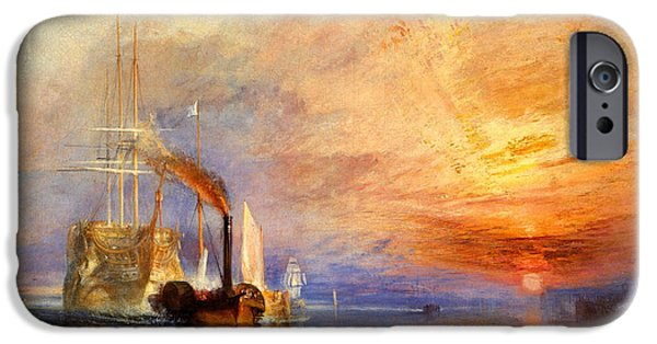 Joseph iPhone Cases - The Fighting Temeraire tugged to her last berth to be broken up iPhone Case by Joseph Mallord William Turner