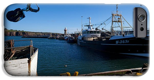 Trawler iPhone Cases - The Fishing Harbour, Dunmore East iPhone Case by Panoramic Images