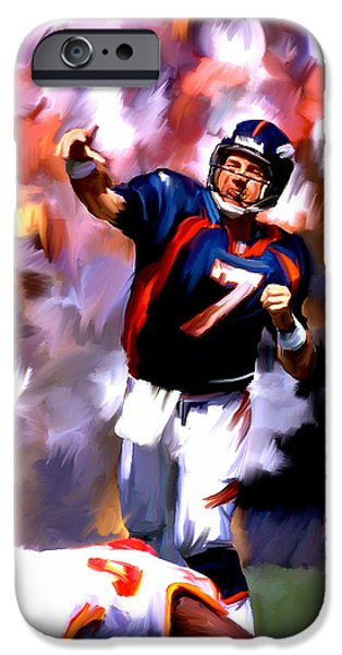 Works Drawings iPhone Cases - The Gun III John Elway iPhone Case by Iconic Images Art Gallery David Pucciarelli