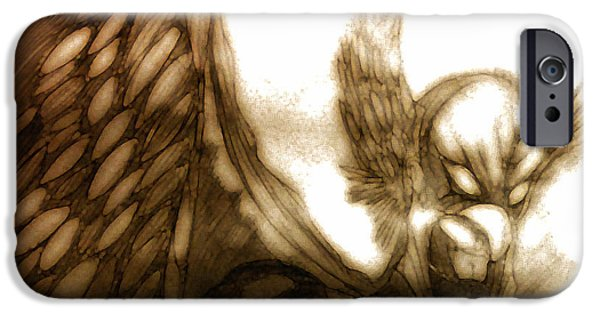 Mixed Media Pastels iPhone Cases - The Hawk  iPhone Case by Jazzboy