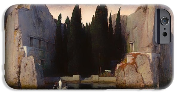 Cemetery Paintings iPhone Cases - The Isle of the Dead iPhone Case by Arnold Bocklin