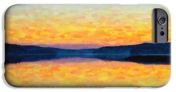 Creek Mixed Media iPhone Cases - The lake iPhone Case by Toppart Sweden