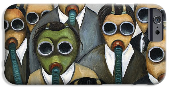 Gas Paintings iPhone Cases - The Meeting  iPhone Case by Leah Saulnier The Painting Maniac