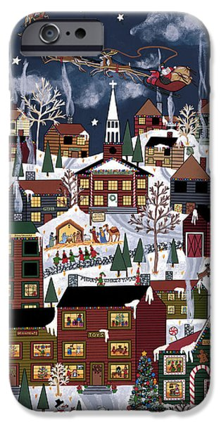 Christmas Eve Paintings iPhone Cases - The North Pole iPhone Case by Medana Gabbard