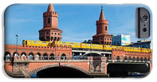 U-bahn iPhone Cases - The Oberbaum Bridge in Berlin Germany iPhone Case by Michal Bednarek