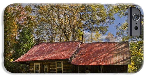 Cabin Window iPhone Cases - The Old Homestead iPhone Case by Debra and Dave Vanderlaan