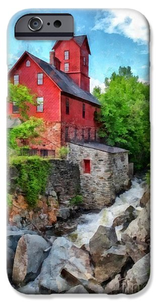 Old Mill Scenes iPhone Cases - The Old Red Mill Jericho Vermont iPhone Case by Edward Fielding
