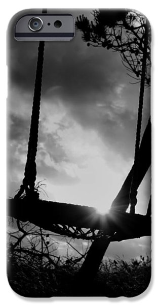 Sun Porch iPhone Cases - The Old Swing at Sunset iPhone Case by Mountain Dreams