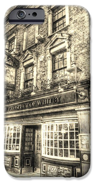 Prospects iPhone Cases - The Prospect Of Whitby Pub London Vintage iPhone Case by David Pyatt