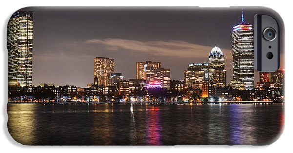 Boston Ma iPhone Cases - The Prudential lit up in red white and blue iPhone Case by Toby McGuire