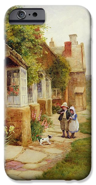Old Village iPhone Cases - The Puppy iPhone Case by Arthur Claude Strachan