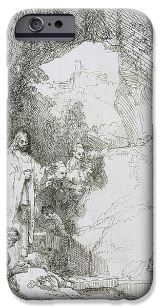 Rembrandt Drawings iPhone Cases - The Raising Of Lazarus iPhone Case by Rembrandt Van Rijn