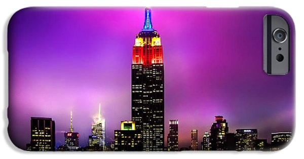 Empire State Building iPhone Cases - The Red Empire iPhone Case by Az Jackson