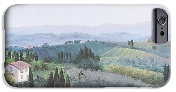 Tuscan Hills Paintings iPhone Cases - The Rolling hills of Tuscany iPhone Case by Jan Matson