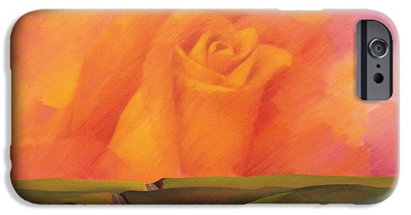 Surreal Landscape Photographs iPhone Cases - The Rose, 2001 Oil On Canvas iPhone Case by Myung-Bo Sim