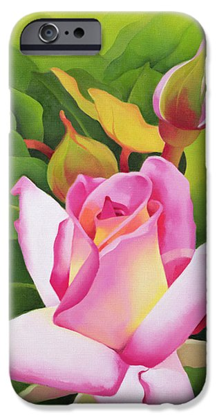 Floral Photographs iPhone Cases - The Rose, 2002 Oil On Canvas iPhone Case by Myung-Bo Sim