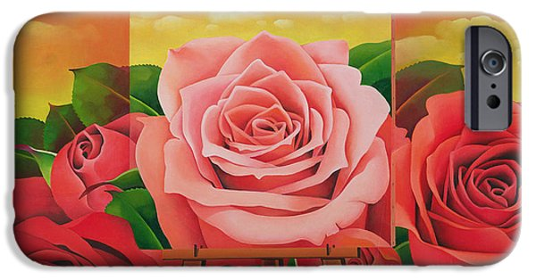 Floral Photographs iPhone Cases - The Rose, 2004 Oil On Canvas iPhone Case by Myung-Bo Sim