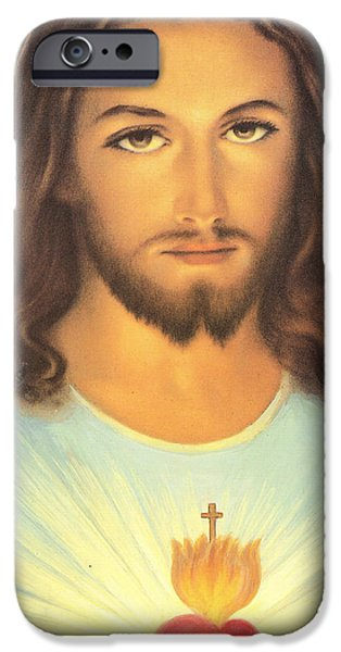 Son Of God Drawings iPhone Cases - The Sacred Heart Of Jesus iPhone Case by French School