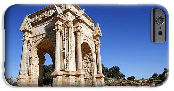 Leptis Magna iPhone Cases - The Septimus Severus Arch at Leptis Magna in Libya iPhone Case by Robert Preston